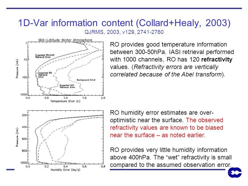 1D-Var information content (Collard+Healy, 2003) QJRMS, 2003, v129, 2741-2760 RO provides good temperature information between 300-50hPa. IASI retriev