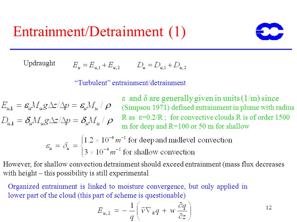 12 Entrainment/Detrainment (1) Updraught Turbulent entrainment/detrainment Organized entrainment is linked to moisture convergence, but only applied i