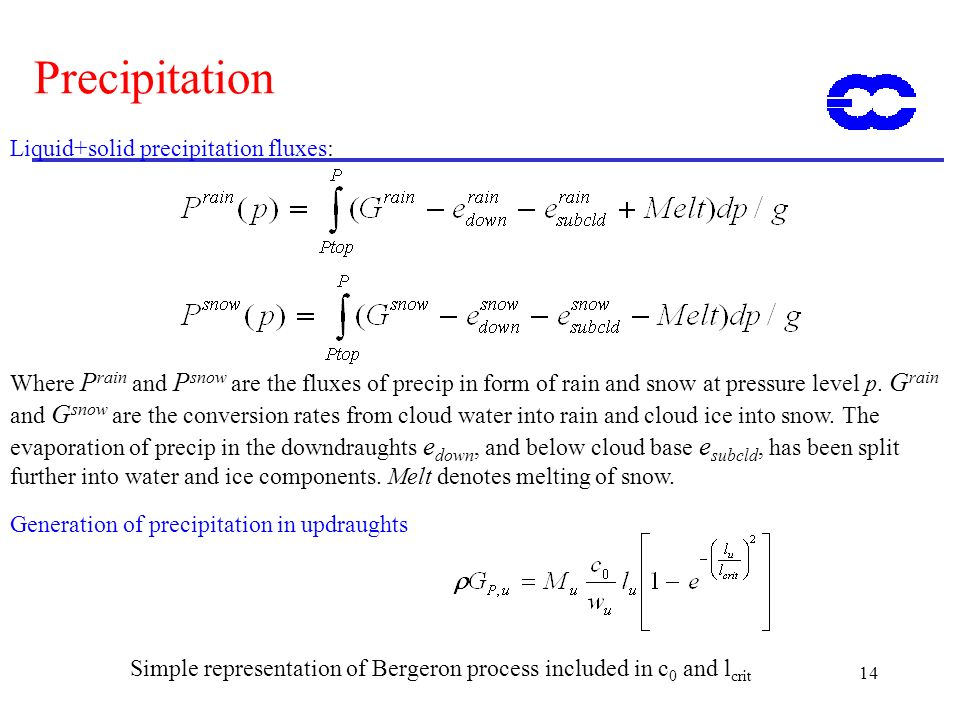 14 Precipitation Generation of precipitation in updraughts Simple representation of Bergeron process included in c 0 and l crit Liquid+solid precipita