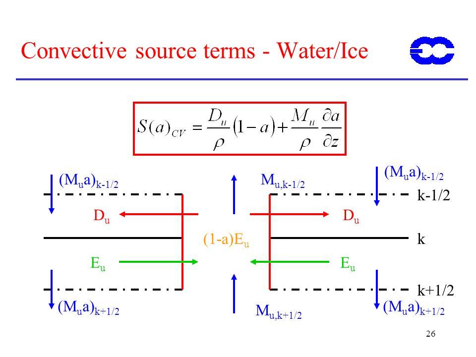 26 Convective source terms - Water/Ice k k+1/2 k-1/2 M u,k+1/2 M u,k-1/2 EuEu EuEu DuDu DuDu (M u a) k-1/2 (M u a) k+1/2 (1-a)E u