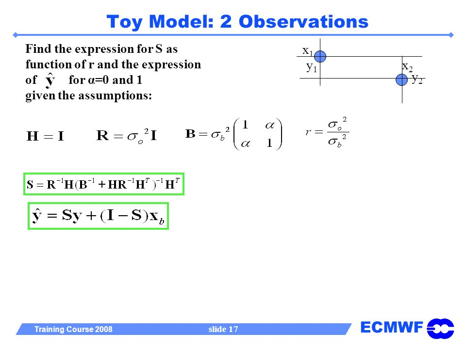 ECMWF Training Course 2008 slide 17 Toy Model: 2 Observations x1x1 x2x2 y2y2 y1y1 Find the expression for S as function of r and the expression of for α=0 and 1 given the assumptions: