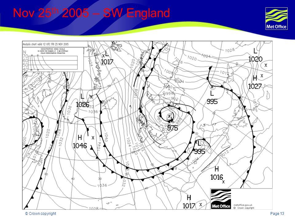 Page 13© Crown copyright Nov 25 th 2005 – SW England