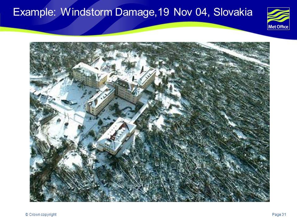 Page 31© Crown copyright Example: Windstorm Damage,19 Nov 04, Slovakia