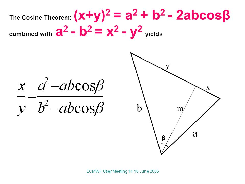 ECMWF User Meeting 14-16 June 2006 a b x y β The Cosine Theorem: (x+y) 2 = a 2 + b 2 - 2abcosβ combined with a 2 - b 2 = x 2 - y 2 yields m