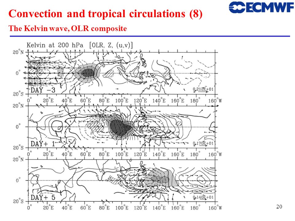 21 Convection and tropical circulations (9) Symmetric KE>PE KE max at Equator,PE max off the Equator Westward moving ~ 5 m/s The (n=1) Equatorial Rossby wave