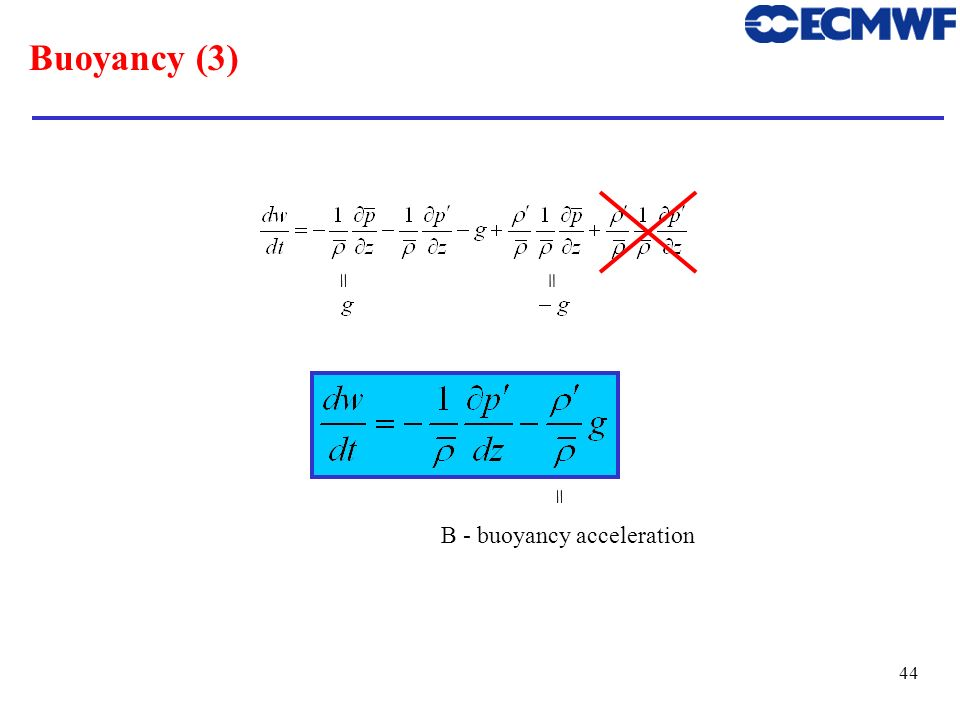 45 Buoyancy (4) Contributions Buoyancy acceleration: Dry air: Often (but not always):Then Hence