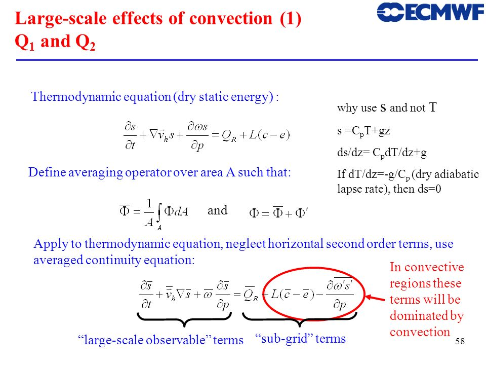 59 Large-scale effects of convection (2) Q 1 and Q 2 This quantity can be derived from observations of the large-scale terms on the l.h.s.