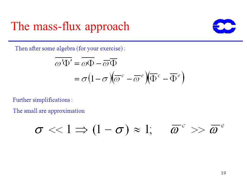 19 The mass-flux approach Then after some algebra (for your exercise) : Further simplifications : The small are approximation