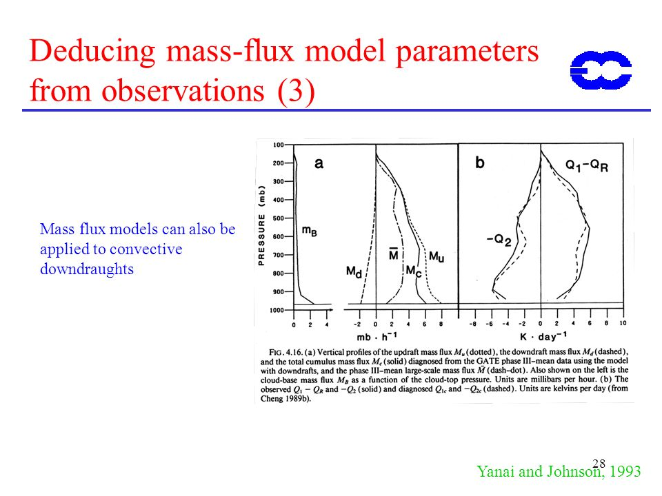 28 Deducing mass-flux model parameters from observations (3) Yanai and Johnson, 1993 Mass flux models can also be applied to convective downdraughts