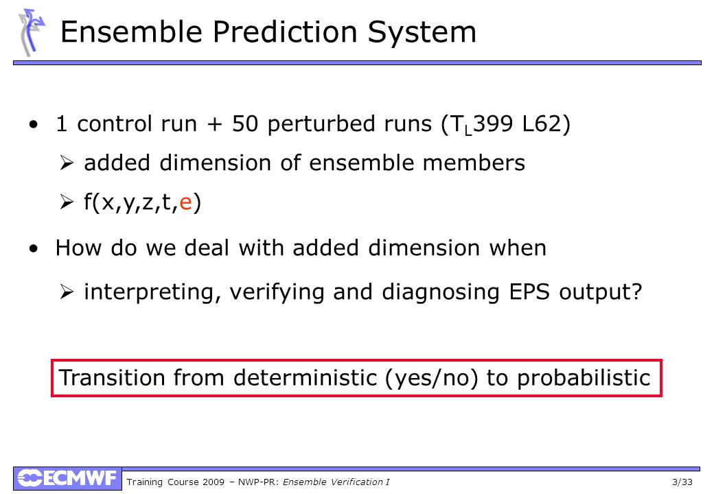 Training Course 2009 – NWP-PR: Ensemble Verification I 14/33 Components of the Brier Score N = total number of cases I = number of probability bins n i = number of cases in probability bin i f i = forecast probability in probability bin I o i = frequency of event being observed when forecasted with f i Reliability: forecast probability vs.