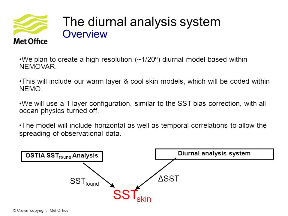 © Crown copyright Met Office The diurnal analysis system Overview We plan to create a high resolution (~1/20º) diurnal model based within NEMOVAR. Thi