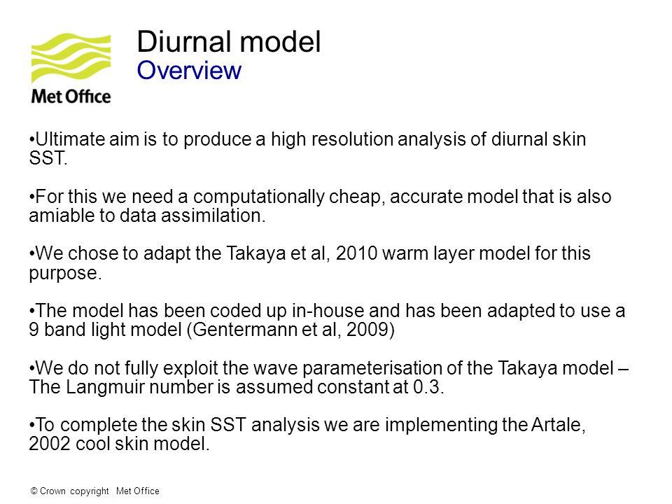 © Crown copyright Met Office Diurnal Model Theory Based on the Takaya, 2010 bulk diurnal model.