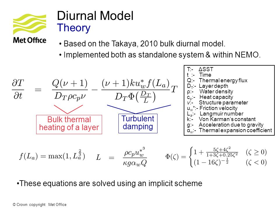 © Crown copyright Met Office Diurnal Model Theory Based on the Takaya, 2010 bulk diurnal model. Implemented both as standalone system & within NEMO. T