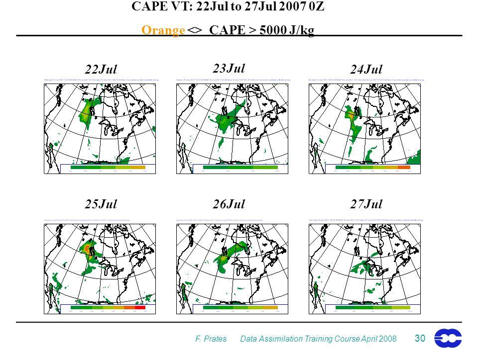 F. Prates Data Assimilation Training Course April 2008 30 CAPE VT: 22Jul to 27Jul 2007 0Z Orange <> CAPE > 5000 J/kg 25Jul 24Jul 23Jul 22Jul 26Jul27Ju