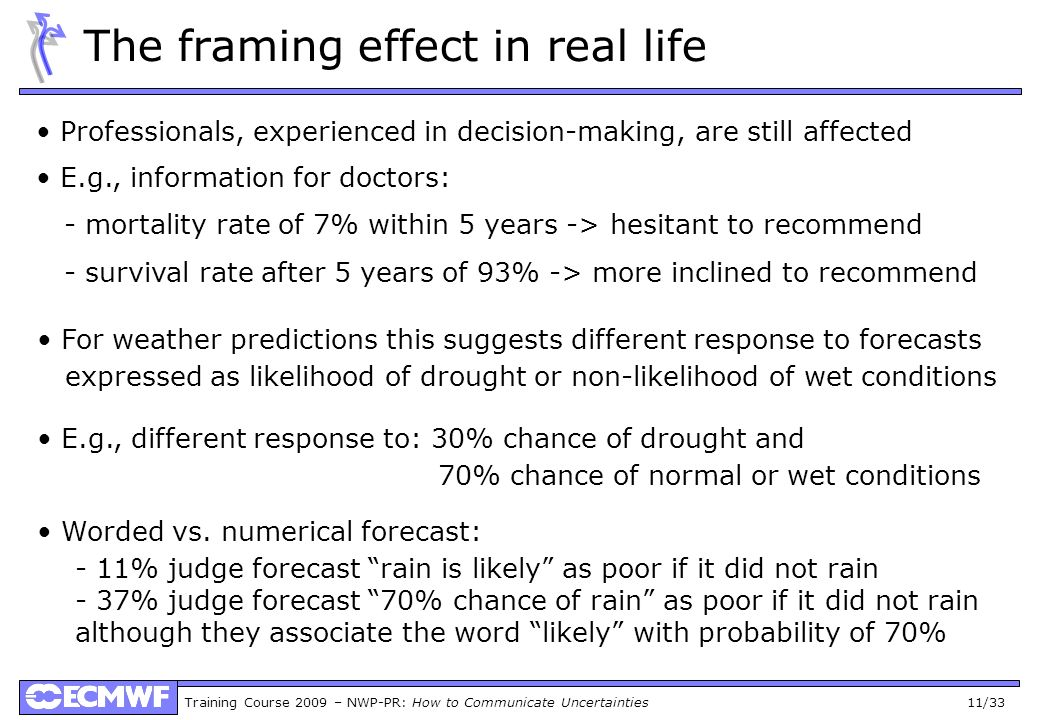 Training Course 2009 – NWP-PR: How to Communicate Uncertainties 11/33 The framing effect in real life Professionals, experienced in decision-making, are still affected E.g., information for doctors: - mortality rate of 7% within 5 years -> hesitant to recommend - survival rate after 5 years of 93% -> more inclined to recommend For weather predictions this suggests different response to forecasts expressed as likelihood of drought or non-likelihood of wet conditions E.g., different response to: 30% chance of drought and 70% chance of normal or wet conditions Worded vs.