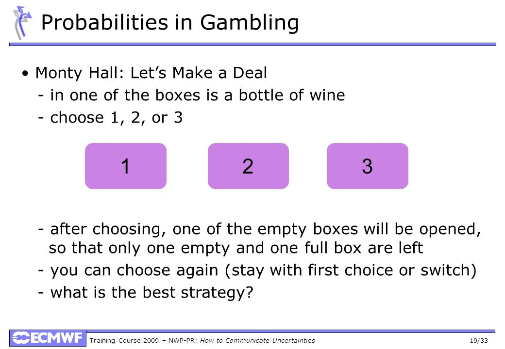 Training Course 2009 – NWP-PR: How to Communicate Uncertainties 19/33 Probabilities in Gambling Monty Hall: Lets Make a Deal - in one of the boxes is a bottle of wine - choose 1, 2, or 3 - after choosing, one of the empty boxes will be opened, so that only one empty and one full box are left - you can choose again (stay with first choice or switch) - what is the best strategy.