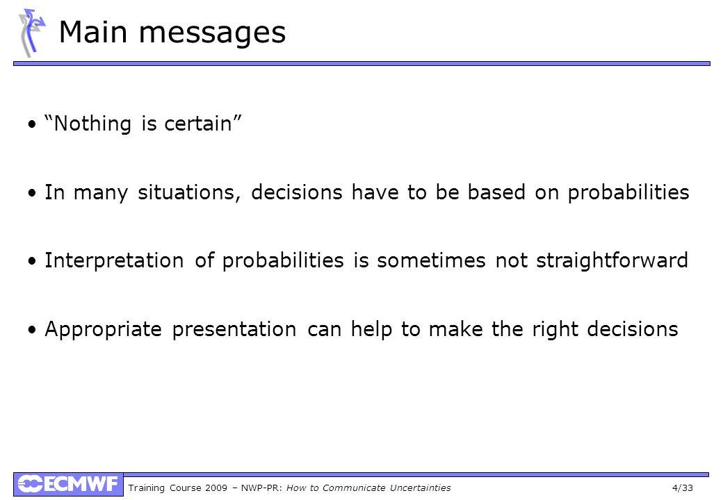 Training Course 2009 – NWP-PR: How to Communicate Uncertainties 25/33 Probability Maps (medium range) RR>1mmRR>5mm RR>10mm RR>20mm