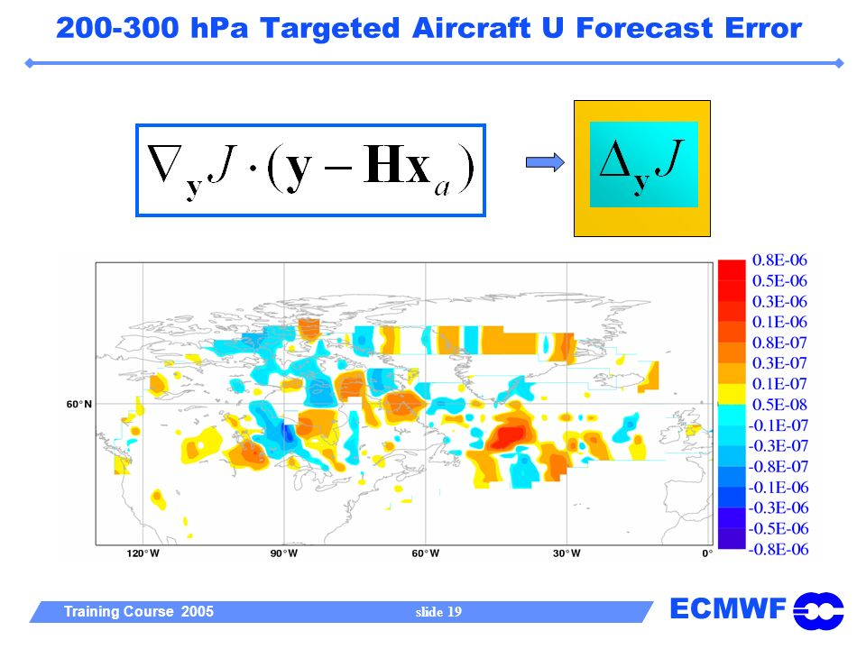 ECMWF Training Course 2005 slide hPa Targeted Aircraft U Forecast Error