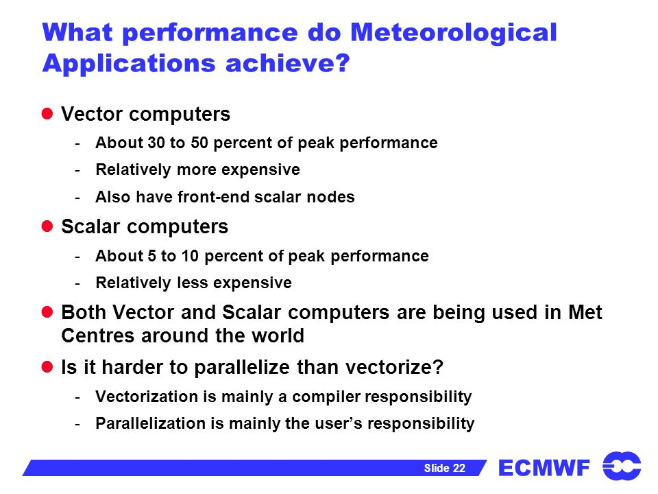ECMWF Slide 22 What performance do Meteorological Applications achieve.