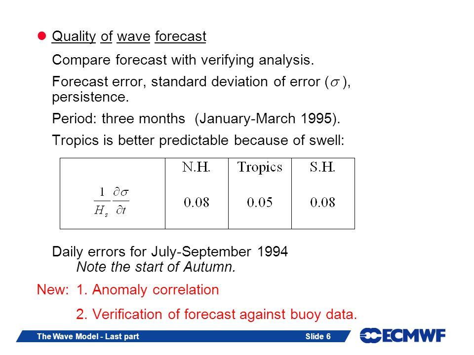 Slide 6The Wave Model - Last part Quality of wave forecast Compare forecast with verifying analysis. Forecast error, standard deviation of error ( ),