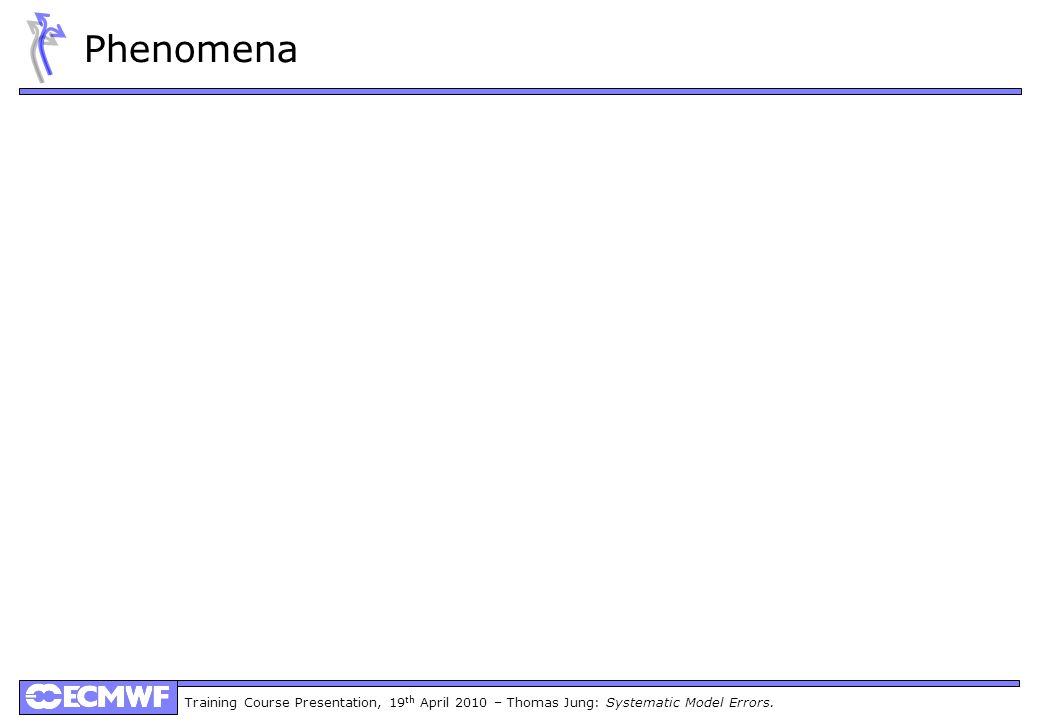 Training Course Presentation, 19 th April 2010 – Thomas Jung: Systematic Model Errors. Phenomena
