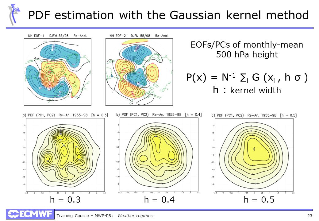 Training Course – NWP-PR: Weather regimes 23 PDF estimation with the Gaussian kernel method EOFs/PCs of monthly-mean 500 hPa height P(x) = N -1 i G (x i, h σ ) h : kernel width h = 0.3 h = 0.4 h = 0.5