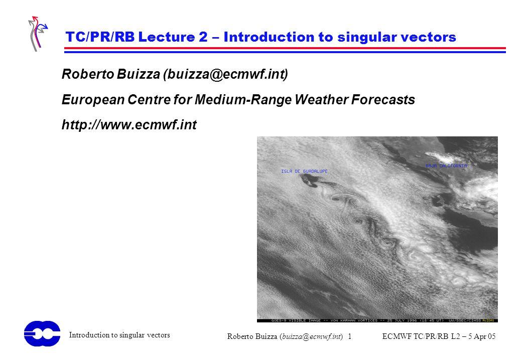 Roberto Buizza (buizza@ecmwf.int) 1 ECMWF TC/PR/RB L2 – 5 Apr 05 Introduction to singular vectors TC/PR/RB Lecture 2 – Introduction to singular vector