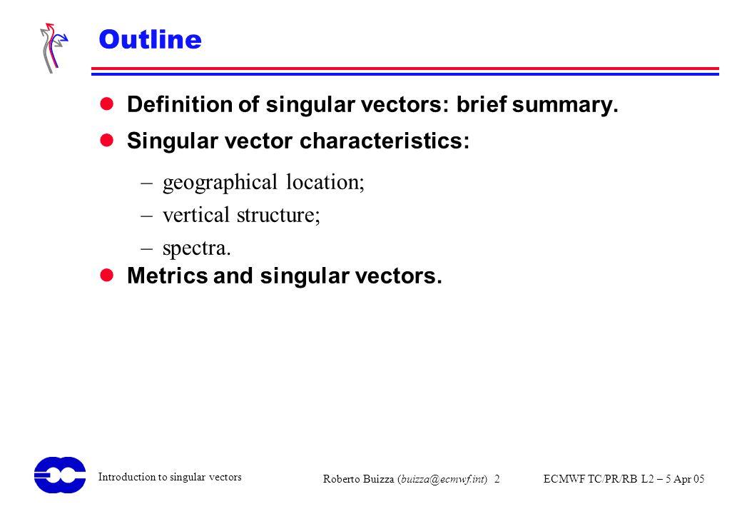Roberto Buizza (buizza@ecmwf.int) 2 ECMWF TC/PR/RB L2 – 5 Apr 05 Introduction to singular vectors Outline Definition of singular vectors: brief summar