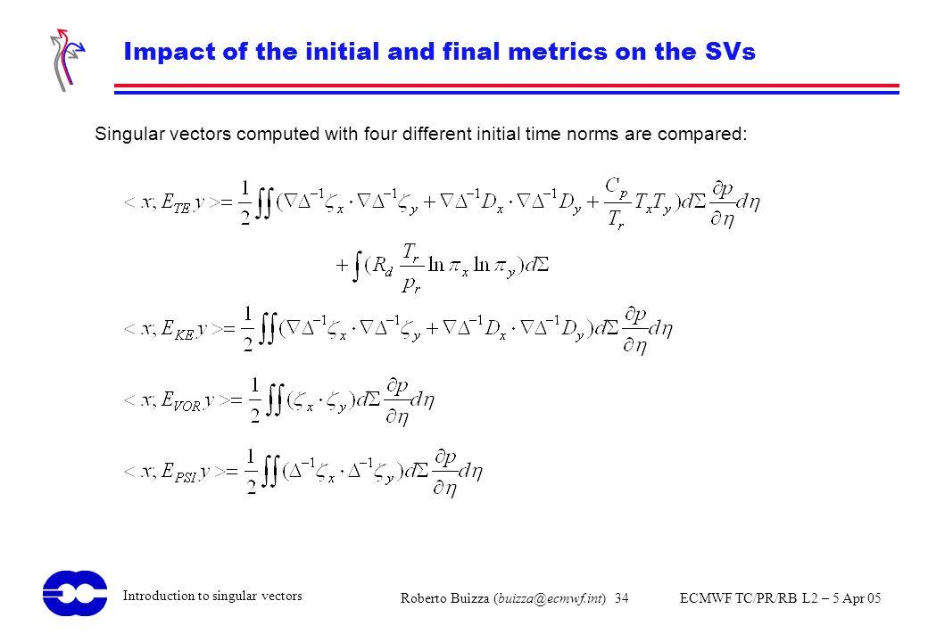 Roberto Buizza (buizza@ecmwf.int) 34 ECMWF TC/PR/RB L2 – 5 Apr 05 Introduction to singular vectors Impact of the initial and final metrics on the SVs