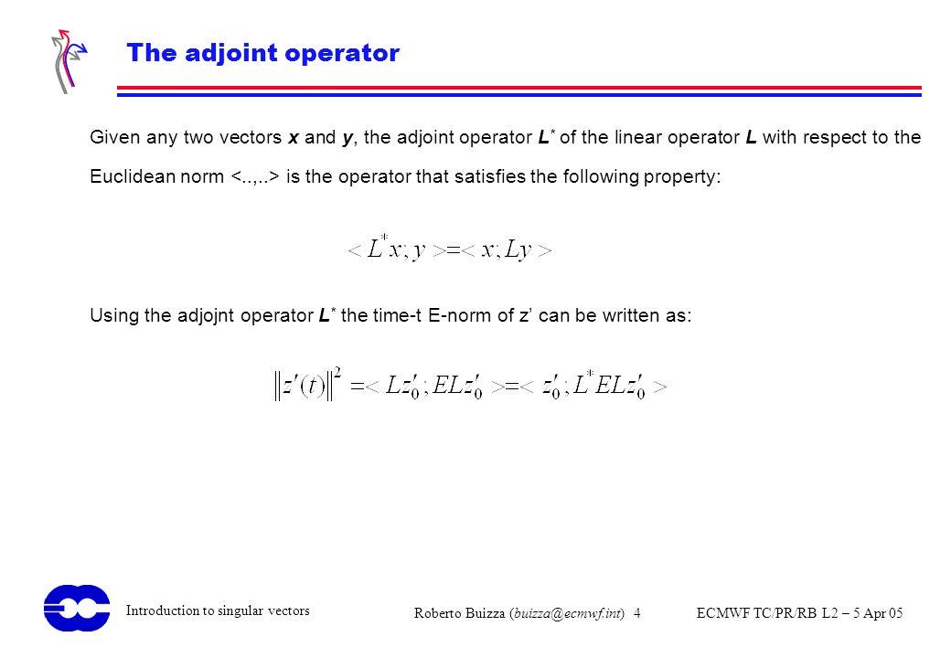 Roberto Buizza (buizza@ecmwf.int) 4 ECMWF TC/PR/RB L2 – 5 Apr 05 Introduction to singular vectors The adjoint operator Given any two vectors x and y,