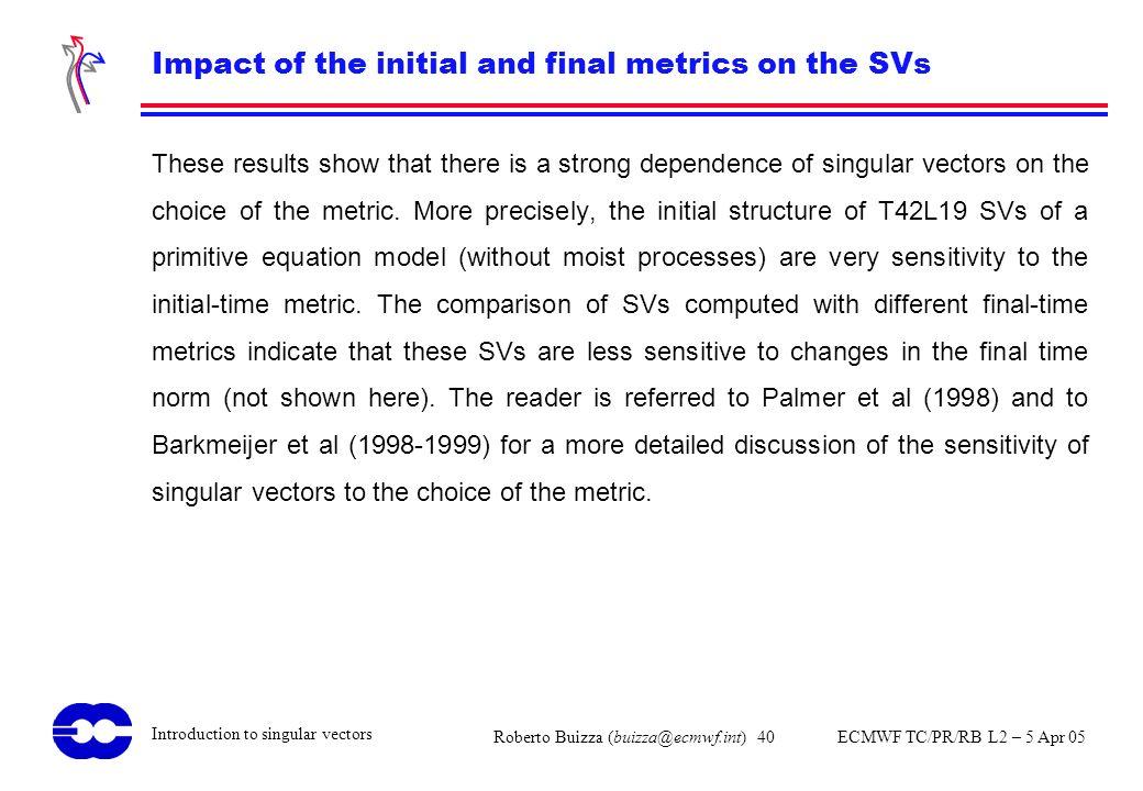 Roberto Buizza (buizza@ecmwf.int) 40 ECMWF TC/PR/RB L2 – 5 Apr 05 Introduction to singular vectors Impact of the initial and final metrics on the SVs