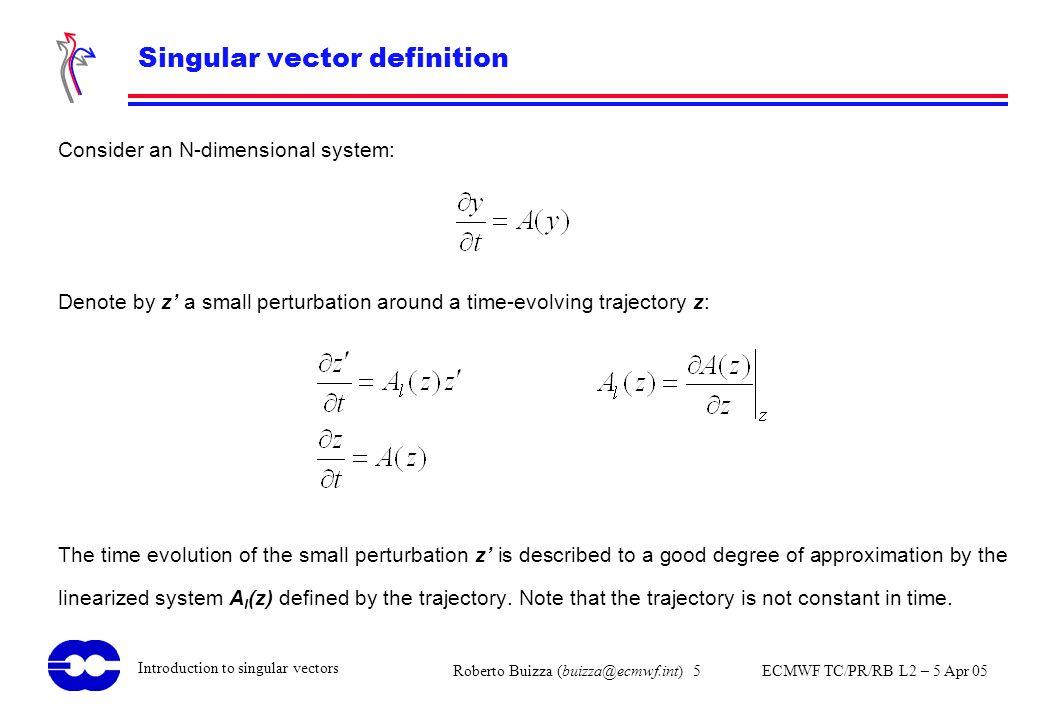 Roberto Buizza (buizza@ecmwf.int) 5 ECMWF TC/PR/RB L2 – 5 Apr 05 Introduction to singular vectors Singular vector definition Consider an N-dimensional