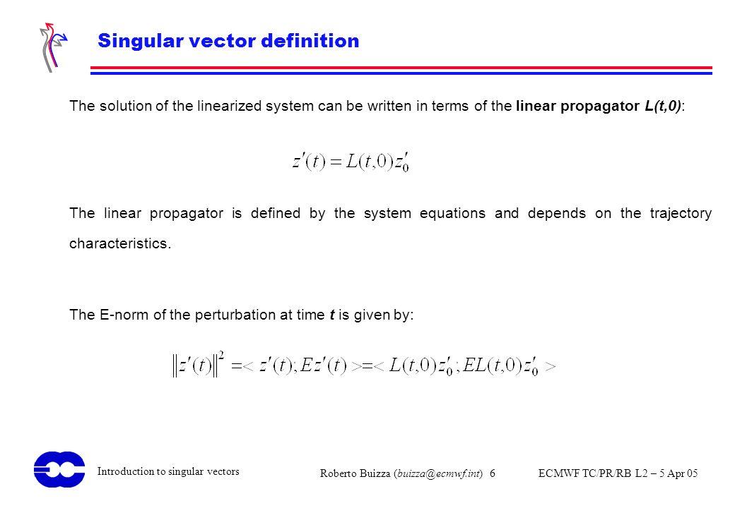 Roberto Buizza (buizza@ecmwf.int) 6 ECMWF TC/PR/RB L2 – 5 Apr 05 Introduction to singular vectors Singular vector definition The solution of the linea