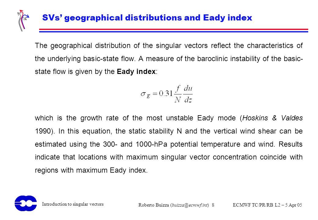 Roberto Buizza (buizza@ecmwf.int) 8 ECMWF TC/PR/RB L2 – 5 Apr 05 Introduction to singular vectors SVs geographical distributions and Eady index The ge