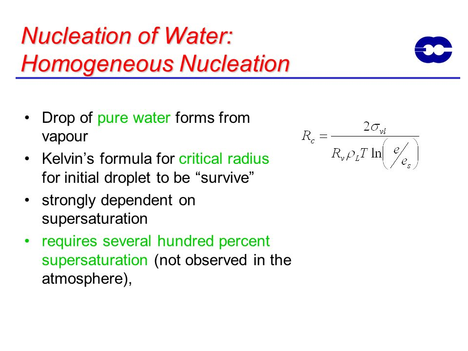 Nucleation of Water: Homogeneous Nucleation Drop of pure water forms from vapour Kelvins formula for critical radius for initial droplet to be survive