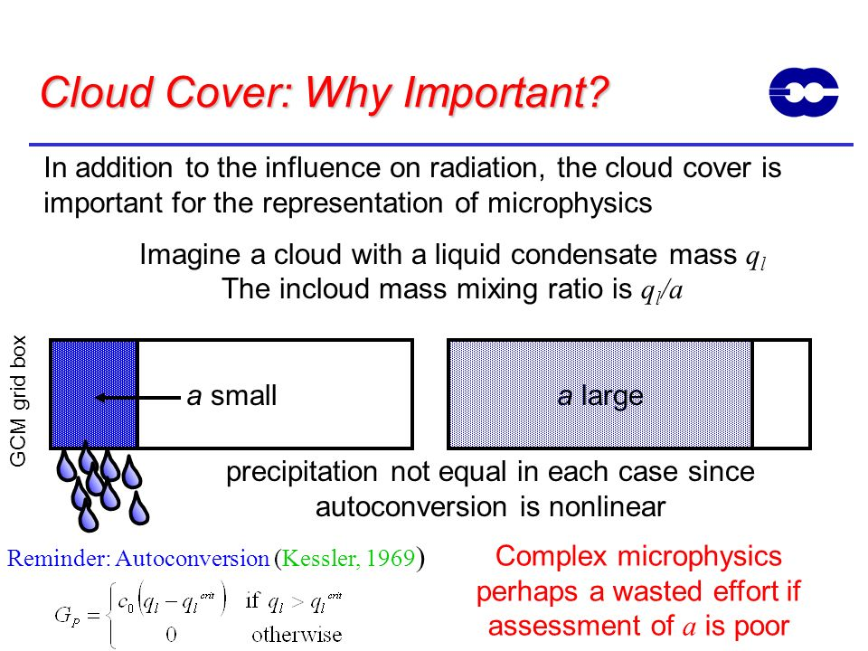 Cloud Cover: Why Important? In addition to the influence on radiation, the cloud cover is important for the representation of microphysics Imagine a c