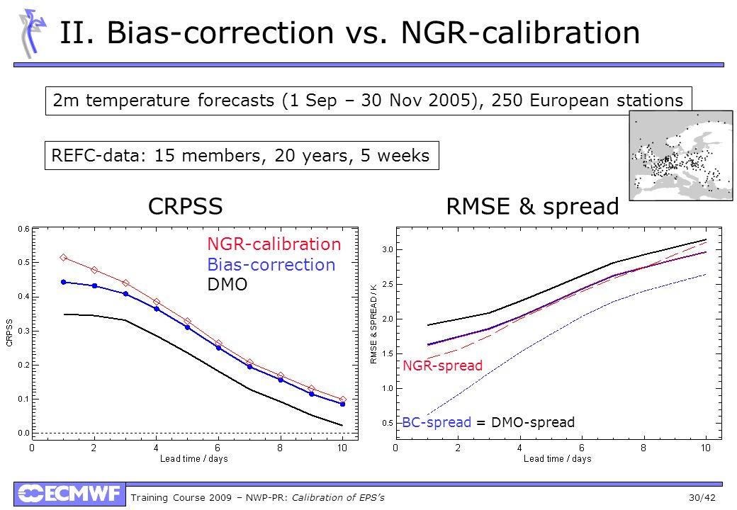 Training Course 2009 – NWP-PR: Calibration of EPSs 30/42 II. Bias-correction vs. NGR-calibration NGR-calibration Bias-correction DMO REFC-data: 15 mem