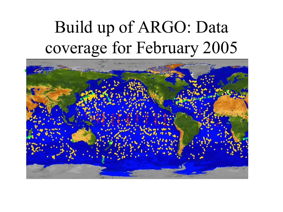 Build up of ARGO: Data coverage for February 2005 XBT, MOORINGS, ARGO floats