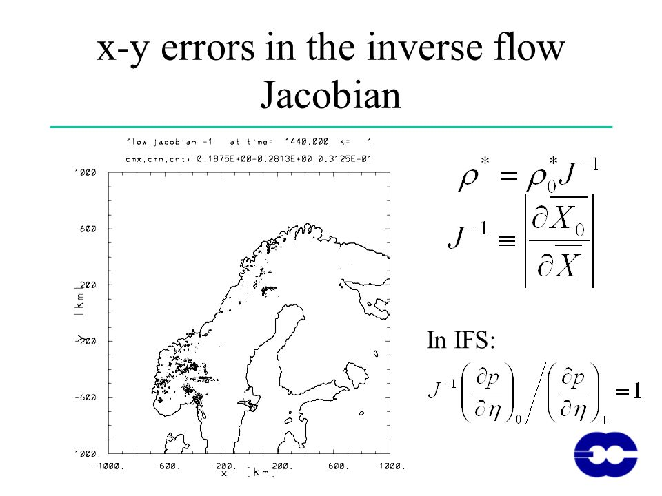x-y errors in the inverse flow Jacobian In IFS: