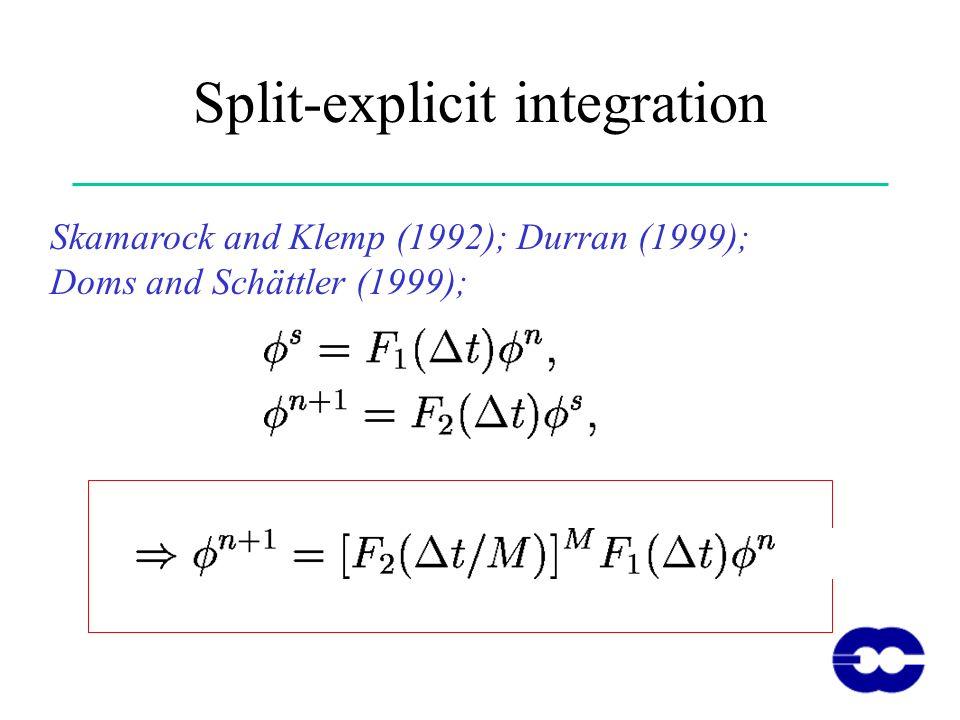 Split-explicit integration Skamarock and Klemp (1992); Durran (1999); Doms and Schättler (1999);