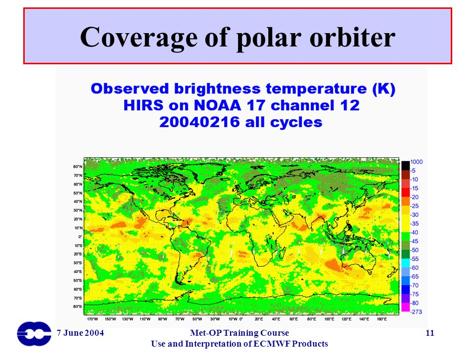 7 June 2004Met-OP Training Course Use and Interpretation of ECMWF Products 11 Coverage of polar orbiter