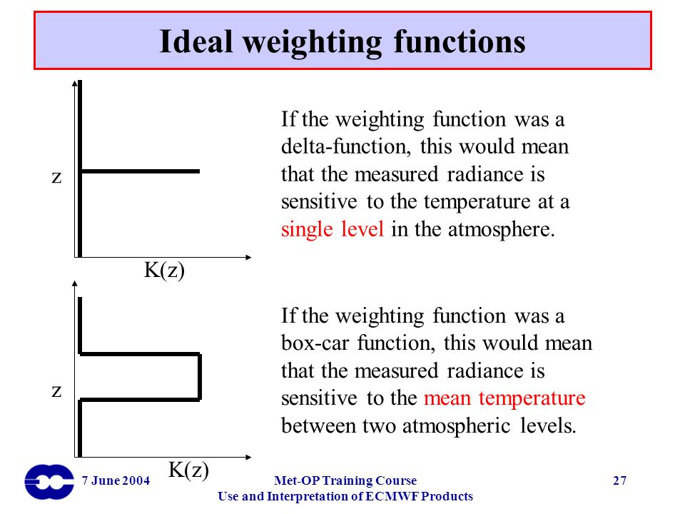 7 June 2004Met-OP Training Course Use and Interpretation of ECMWF Products 27 K(z) z If the weighting function was a delta-function, this would mean t