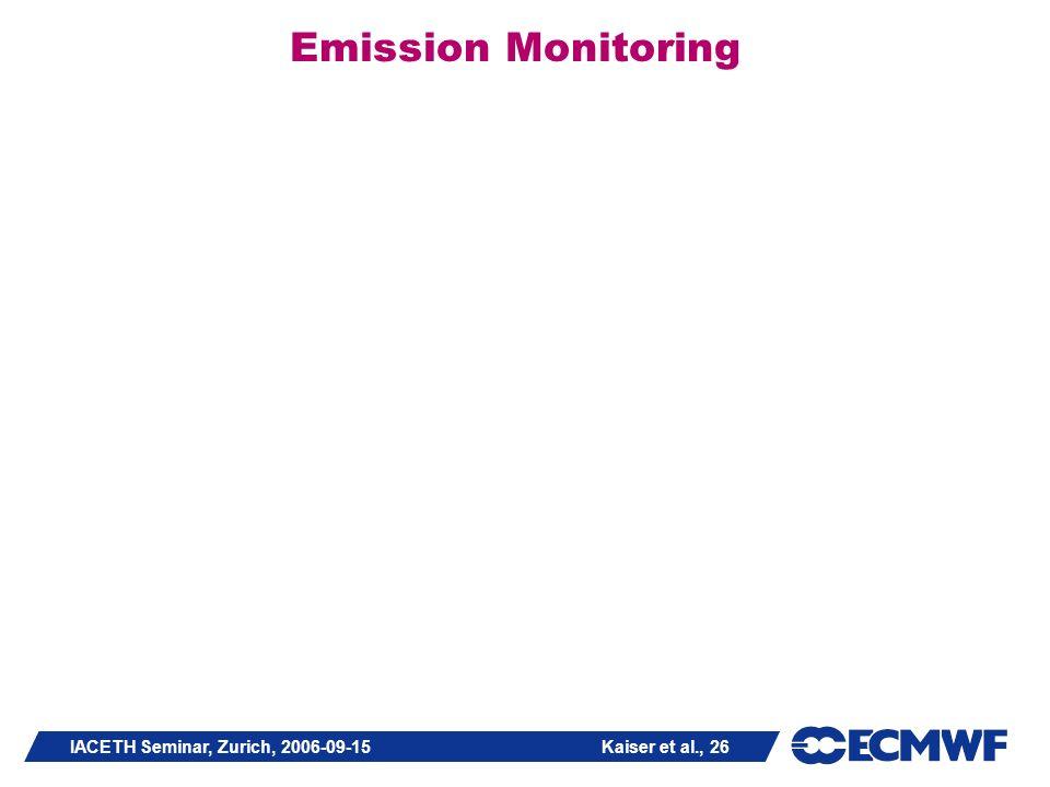 IACETH Seminar, Zurich, 2006-09-15 Kaiser et al., 26 Emission Monitoring