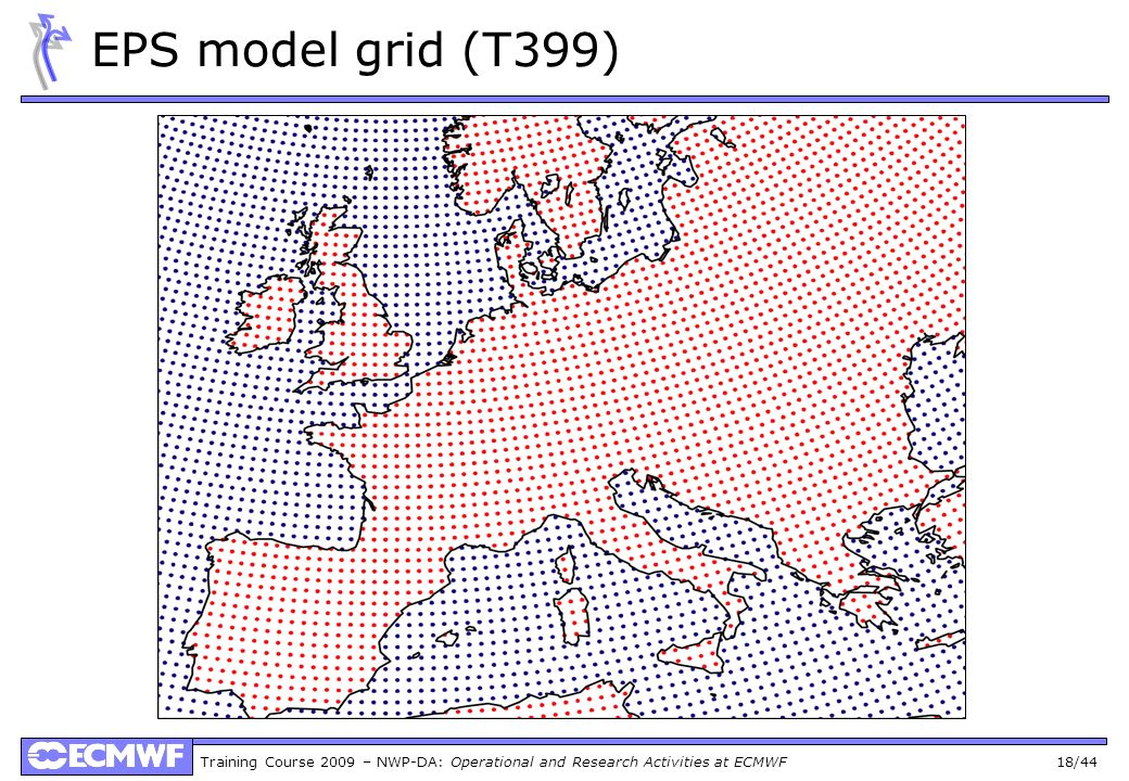 Training Course 2009 – NWP-DA: Operational and Research Activities at ECMWF 18/44 EPS model grid (T399)