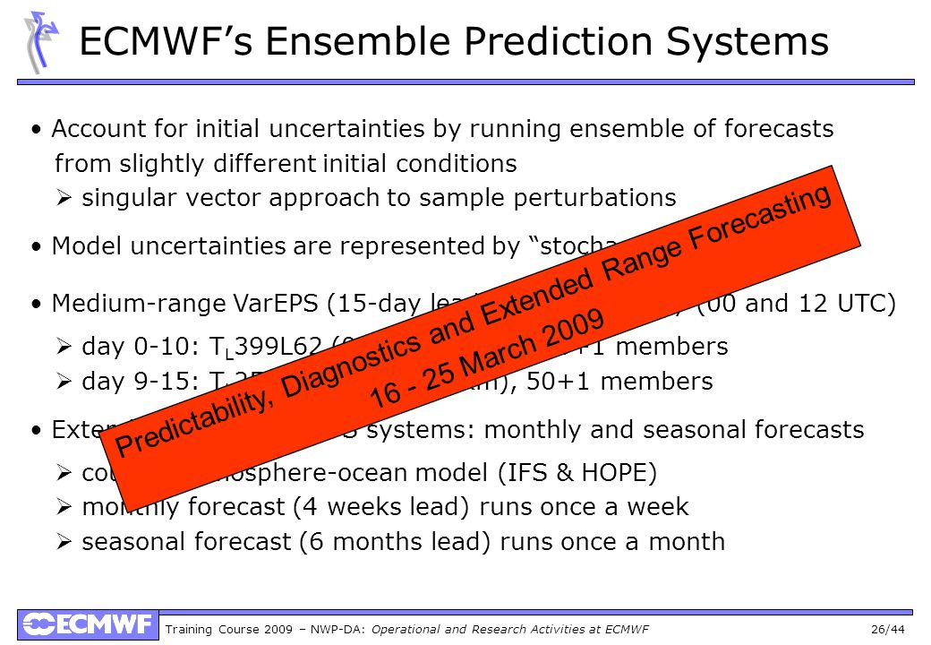Training Course 2009 – NWP-DA: Operational and Research Activities at ECMWF 26/44 ECMWFs Ensemble Prediction Systems Account for initial uncertainties