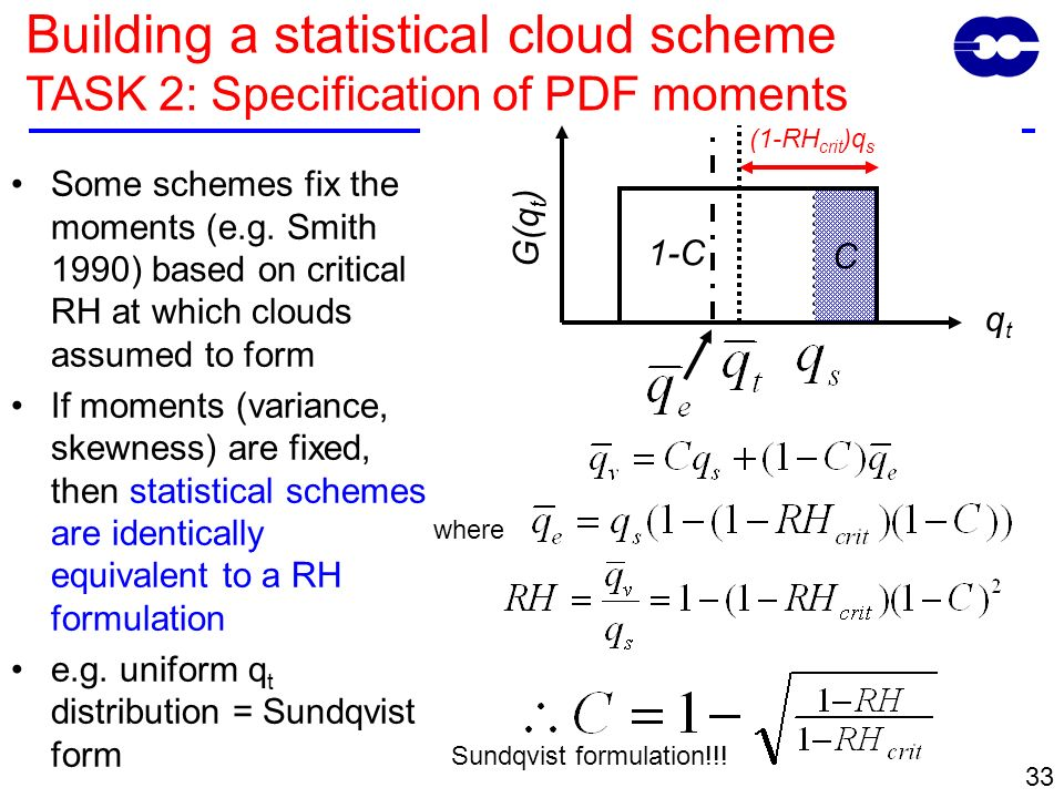 33 Some schemes fix the moments (e.g. Smith 1990) based on critical RH at which clouds assumed to form If moments (variance, skewness) are fixed, then