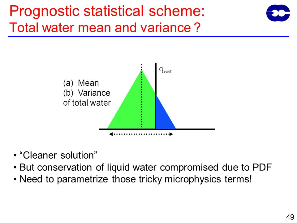 49 q sat (a)Mean (b)Variance of total water Cleaner solution But conservation of liquid water compromised due to PDF Need to parametrize those tricky