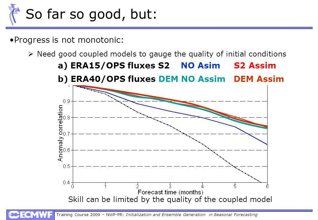 Training Course 2009 – NWP-PR: Initialization and Ensemble Generation in Seasonal Forecasting Progress is not monotonic: Need good coupled models to g