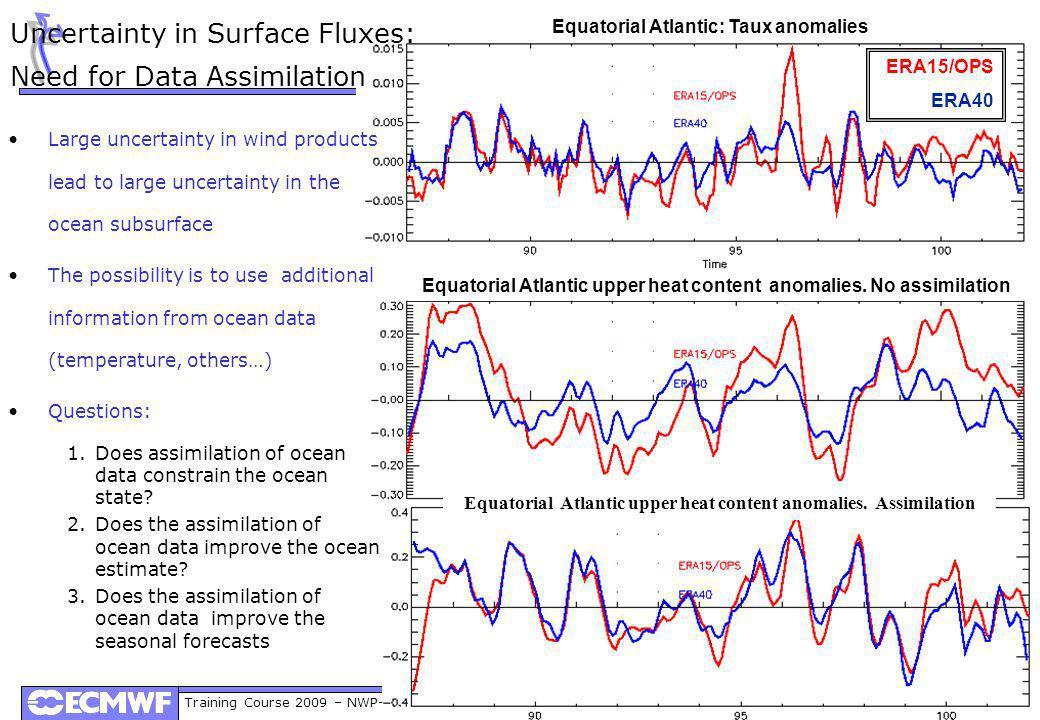 Training Course 2009 – NWP-PR: Initialization and Ensemble Generation in Seasonal Forecasting Equatorial Atlantic: Taux anomalies Equatorial Atlantic