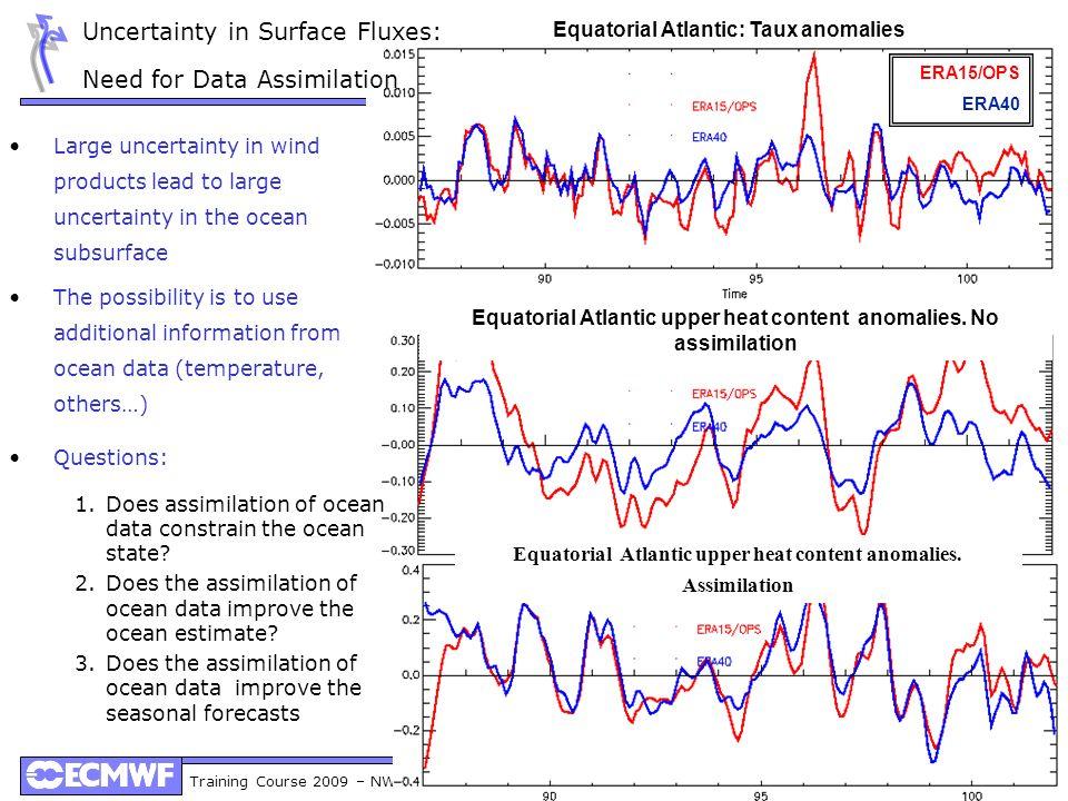 Training Course 2009 – NWP-DA: Ocean Data Assimilation 11 Equatorial Atlantic: Taux anomalies Equatorial Atlantic upper heat content anomalies. No ass